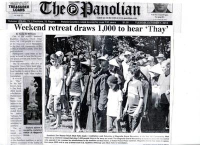 Tờ báo tại Memphis viết về khoá tu ở Mộc Lan