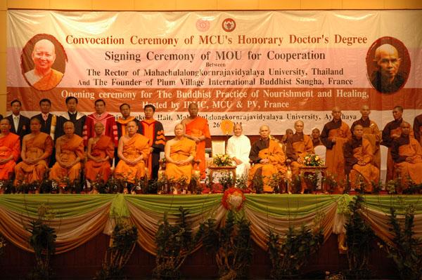 Lễ ký thỏa thuận Hợp Tác giữa Làng Mai và Viện Đại Học Hoàng Gia MahaChulalongkornrajavidyalaya (MCU)